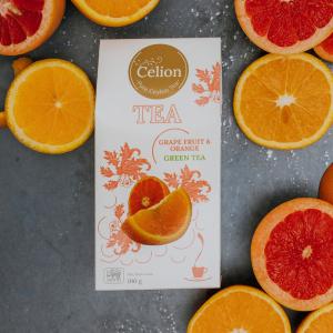 Ceilonas zaļā tēja ar greipfrūtiem un apelsīniem