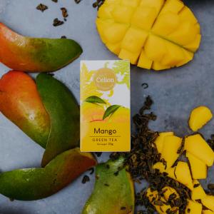 Ceilonas zaļā tēja ar mango sulu