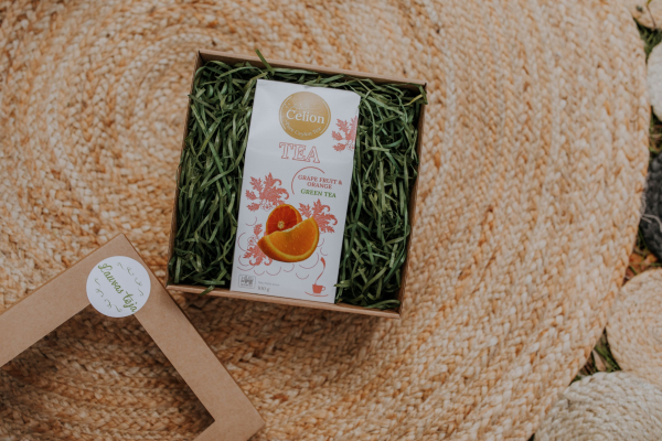 Ceilonas lielo lapu zaļās tējas dāvanu komplekts ar greipfrūtu un apelsīnu zaļo tēju